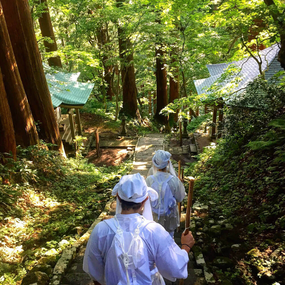 Yamabushi train on the stone stairway amongst the cedars on Mt. Haguro of the Dewa Sanzan