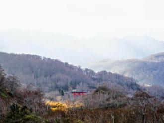The Shrine Gates of Mt. Yudono of the Dewa Sanzan in Autumn