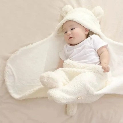 Fluffy Teddy Wrap - Cream