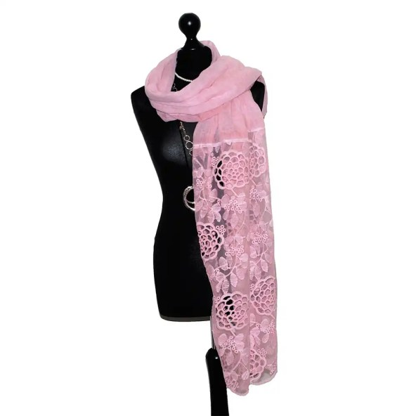 lace scarf baby pink