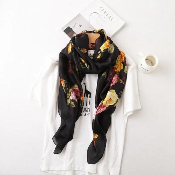 Satin Silk Scarf - Art of Flowers Design