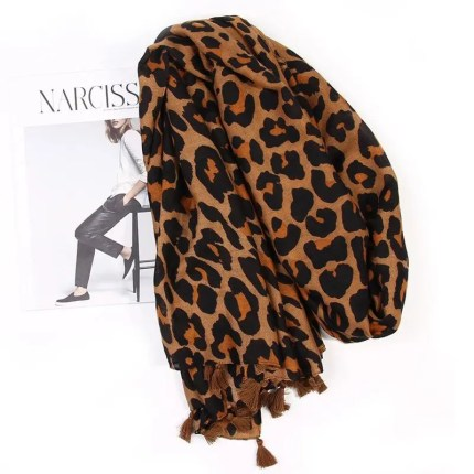 Ladies Leopard Print Scarf with Tassels