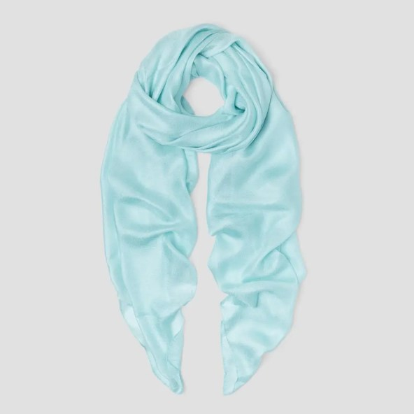 Linen Silk Scarf with Textured Finish in Light Turquoise