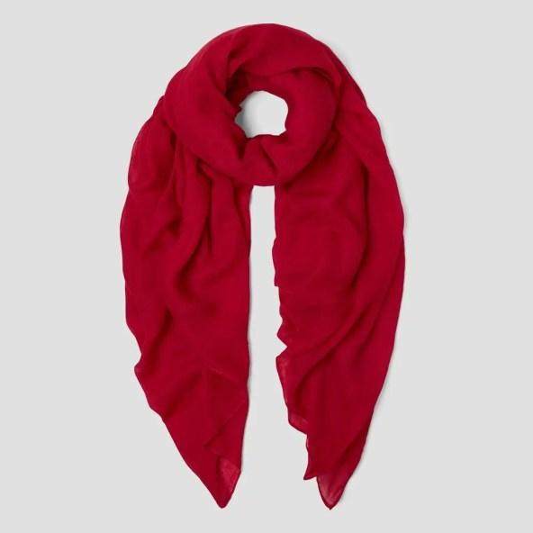 Oversized Scarf with Plain Cotton Design - Dark Red