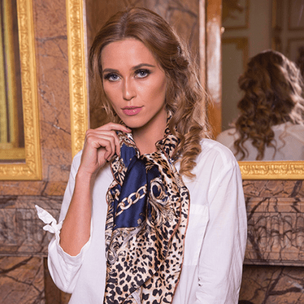 Leopard Print Silk Scarf Shawl Women Wrap – Luxury Design in Navy Blue