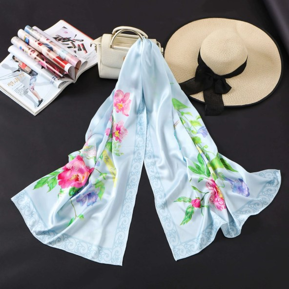 Long Silk Scarf - Amelia Nature Collection - Sky Blue