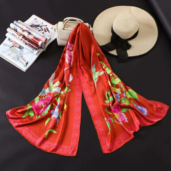 Long Silk Scarf - Amelia Nature Collection - Red