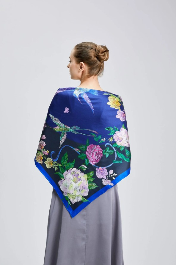 Square Silk Scarf - Amelia Nature Collection – Blue