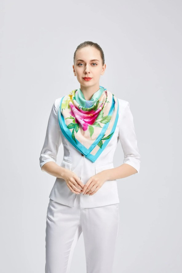 Square Silk Scarf - Amelia Nature Collection – Cyan