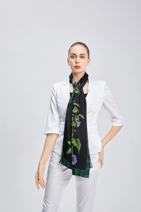 Long Silk Scarf - Amelia Nature Collection – Black