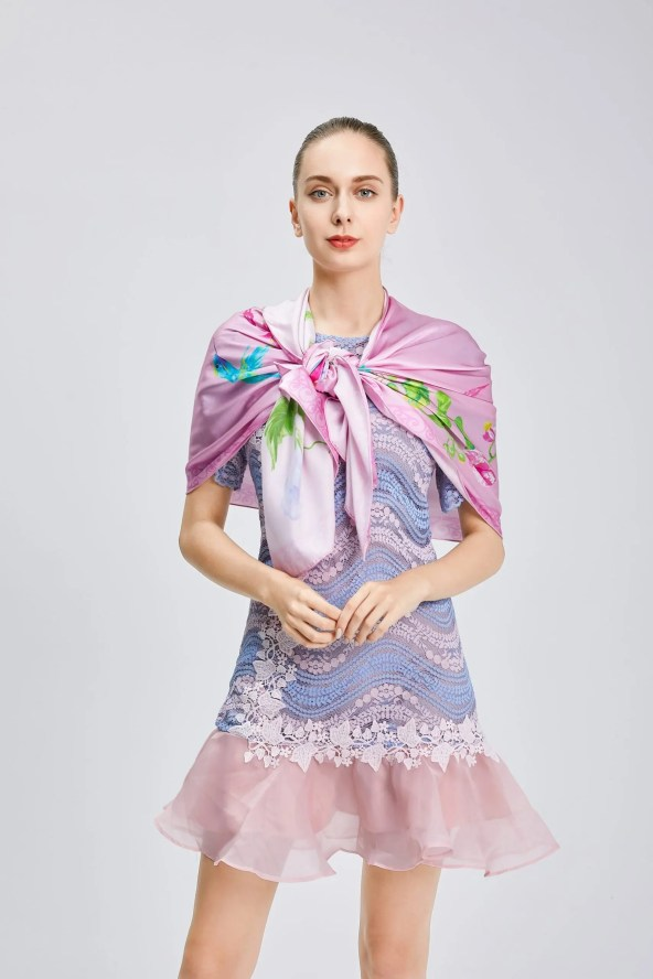 Long Silk Scarf - Amelia Nature Collection – Pink