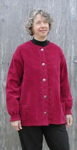 Chenille sweater in Ruby with chanel neckline