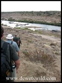 Walking down the Olifants' steep banks