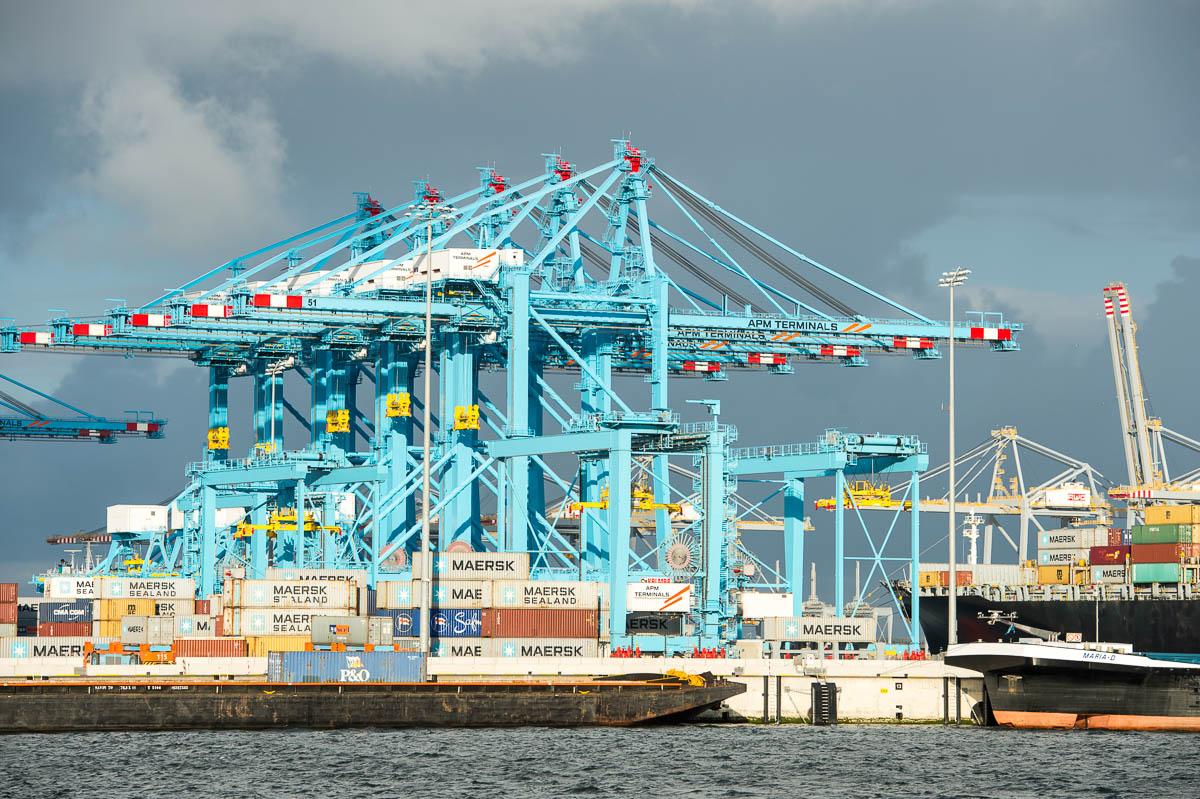 Kranen in de Haven van Rotterdam