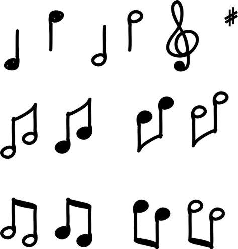 Piano music and notes