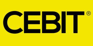 "Black letters on yellow background with a word: ""CEBIT"""