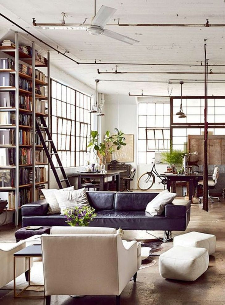 Bright Industrial Living Room