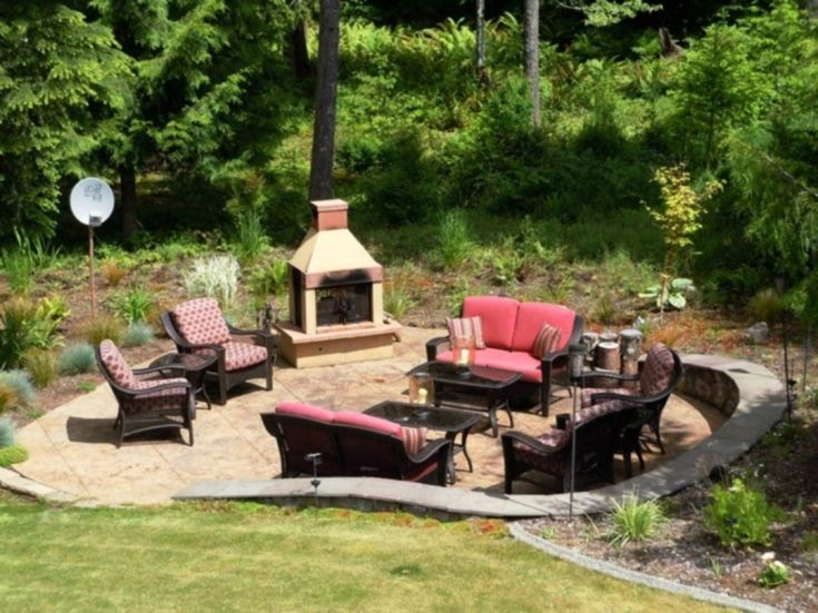DIY fire pit with seating area