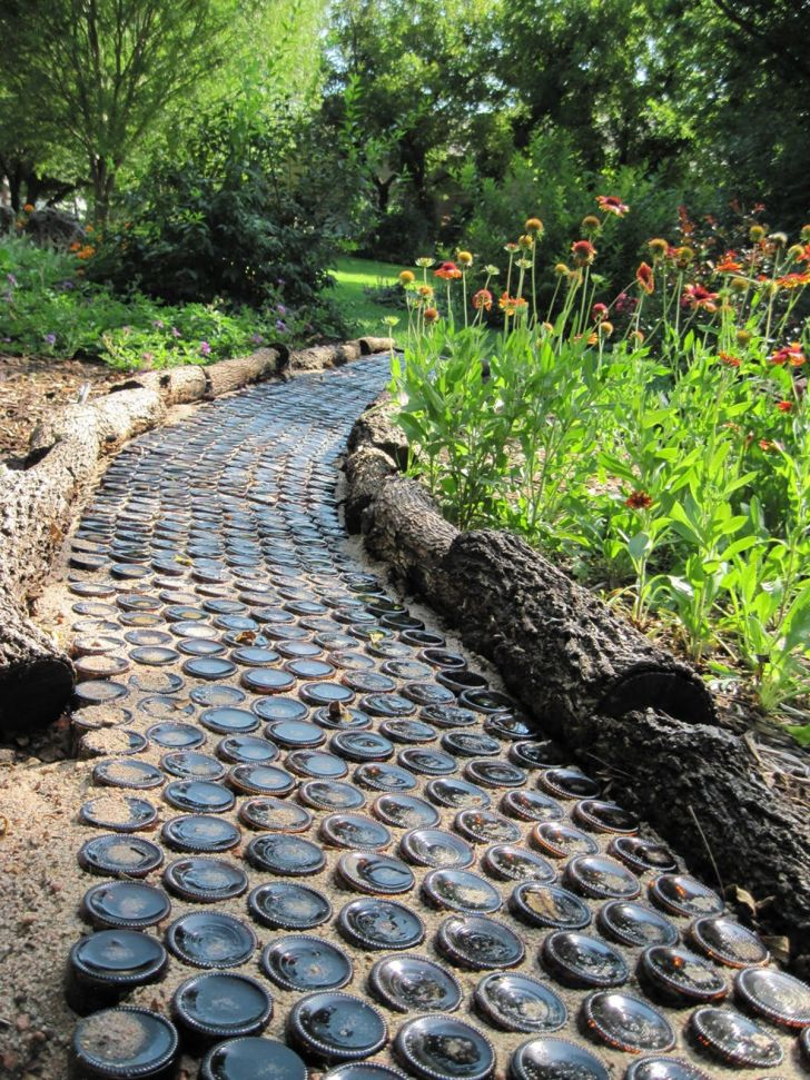 Repurposing old bottles into a foot path