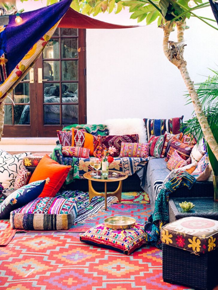 Outdoor Space With Colorful Bohemian
