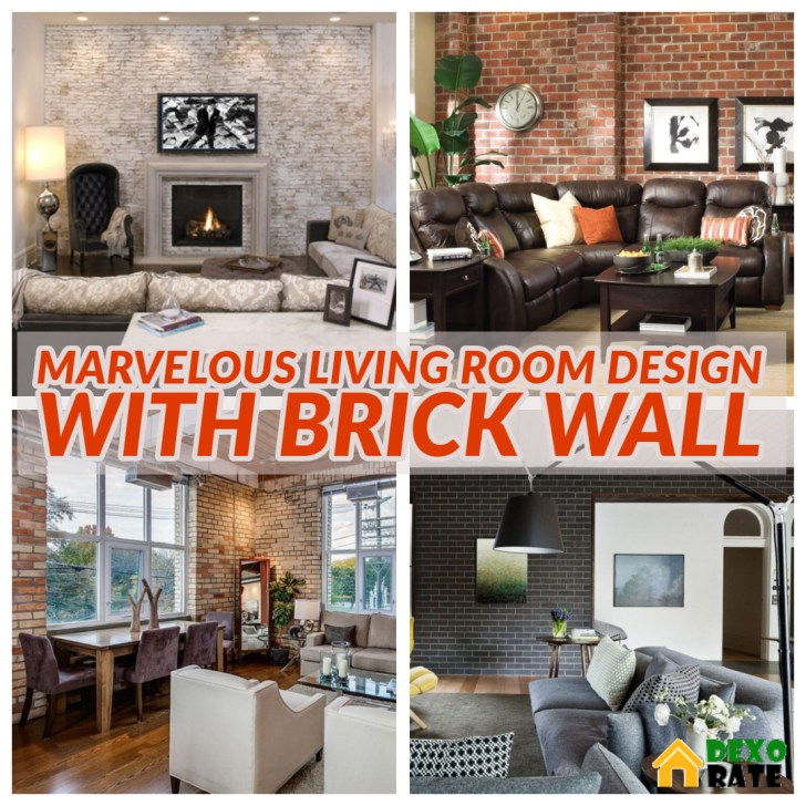 Marvelous Living Room Design With Brick Wall Ideas