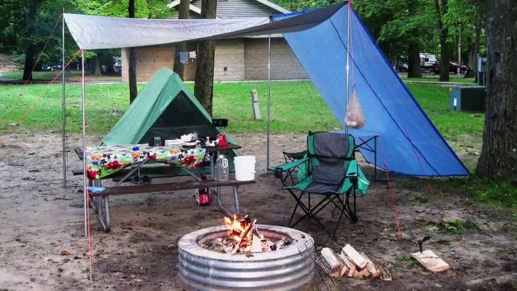 RV Camping With Fireplace