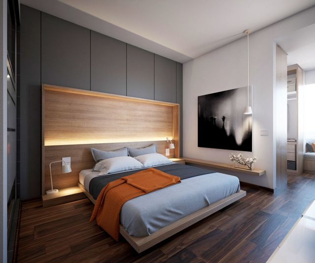Great Small Modern Master Bedroom Design ideas With Wooden Floor - rrholidayescape.com