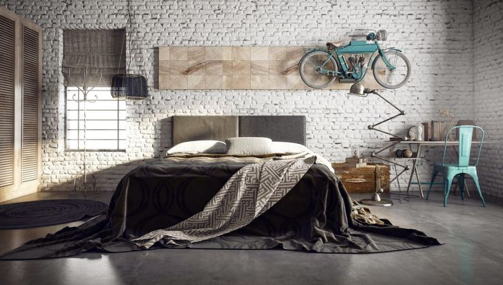 Lovely Industrial Bedroom Decoration
