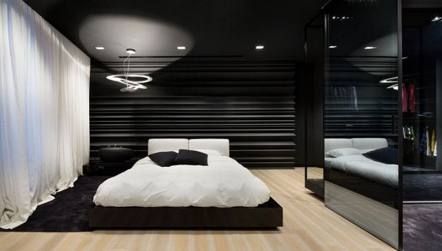 Beautiful Black And White Bedroom Interior