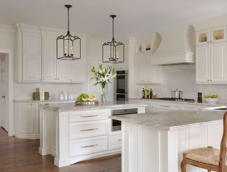 Painted White Kitchen with Walnut