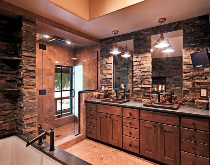 Awesome Rustic Bathroom With Wall Stone