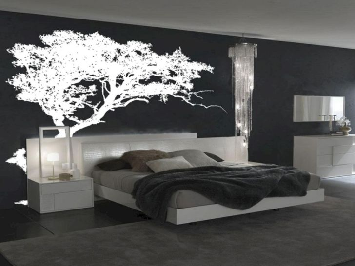 Black Bedroom With Wall Decor