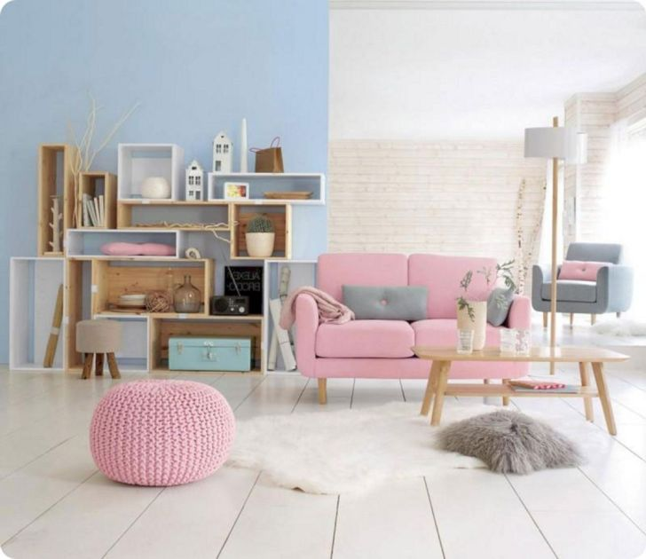 Living Room With Pastel Color Ideas