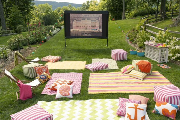 Summer Backyard Party With Outdoor Movie Theater