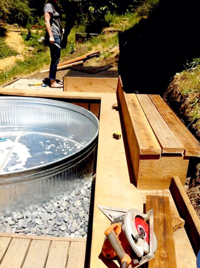 Galvanized Tank Pool With Wooden Deck