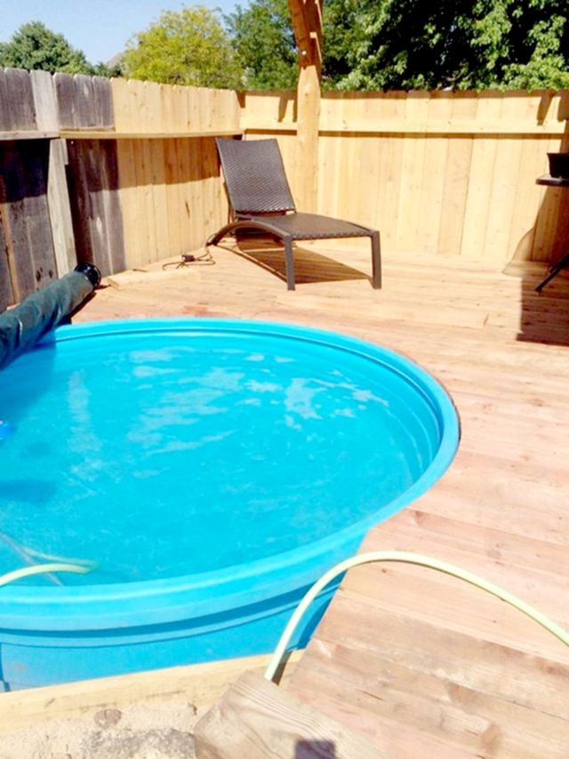 Plastic Stock Tank Pool With Wooden Deck