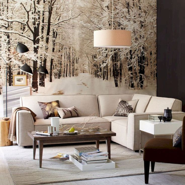 Winter Living Room Decoration With Wall Mural