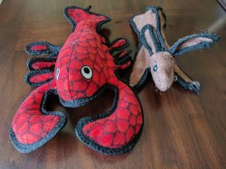 Tuffy Ocean Creatures Lobster toy with Tuffy Rabbit for comparison