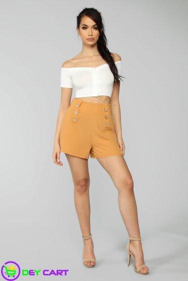Pull On High Rise Shorts - Khaki 0