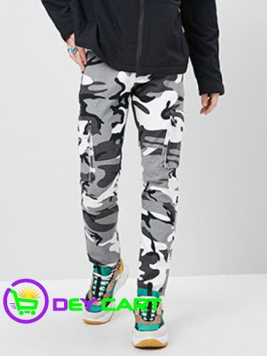 Forever21 Camo Print Straight-Leg Pants - White/Grey