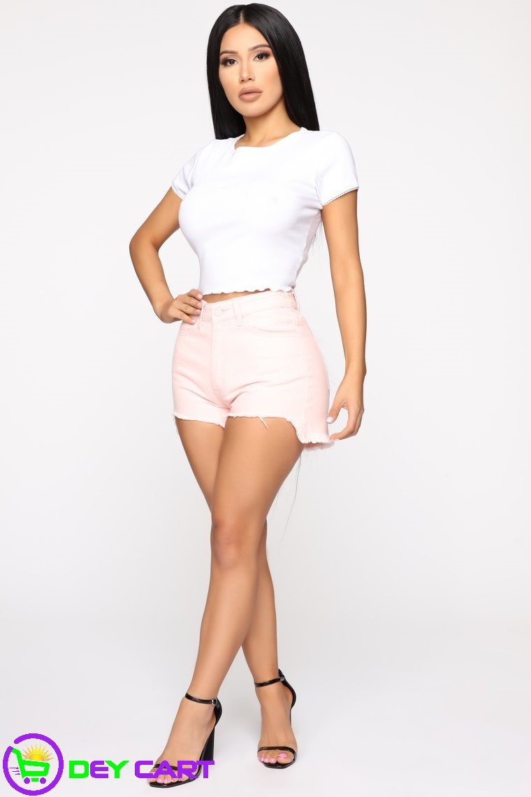 Distressed High Rise Shorts - Pink 0