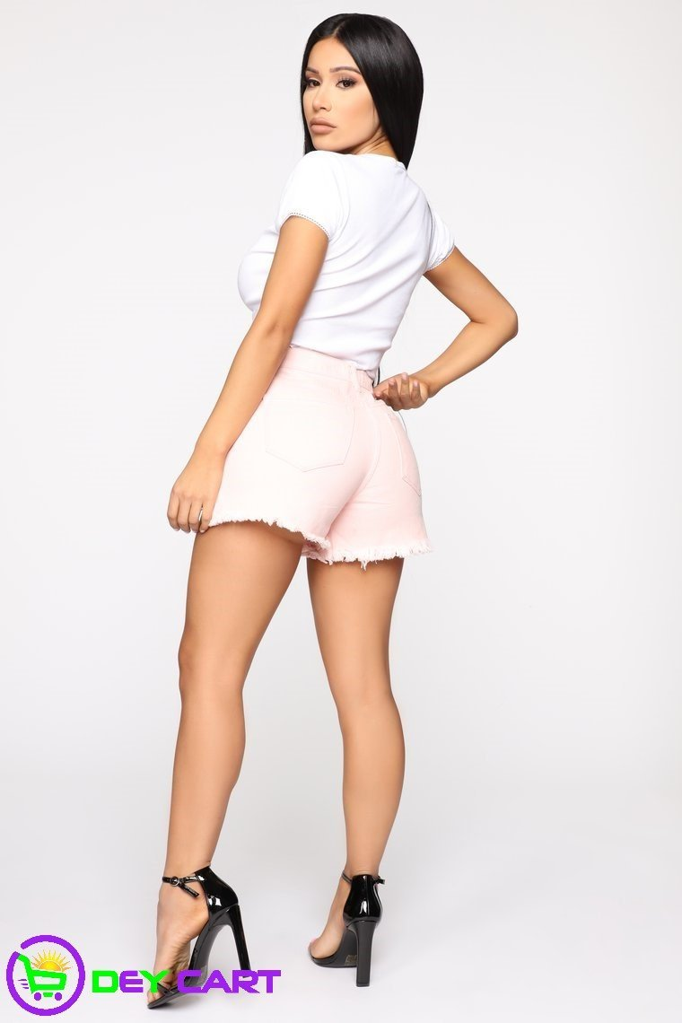 Distressed High Rise Shorts - Pink 1