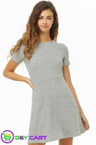 Forever21 Heathered Fit & Flare Dress - Grey 0