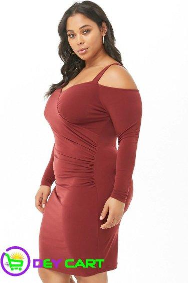Forever21 Open-Shoulder Dress - Burgundy 1