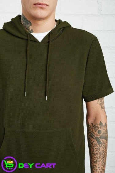 Forever21 Texture Knit Hoodie - Olive 0