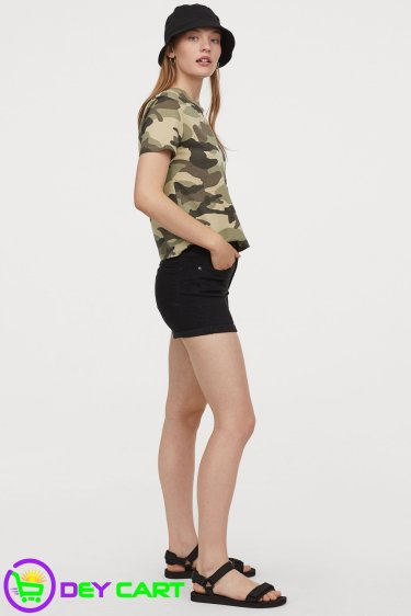 H&M Cotton T-shirt Camo - Khaki Green 1