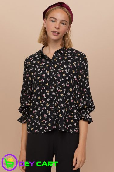 H&M Floral Shirt with Ruffles - Black 0