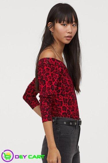 H&M Leopard Print Off-the-shoulder Top - Red 1