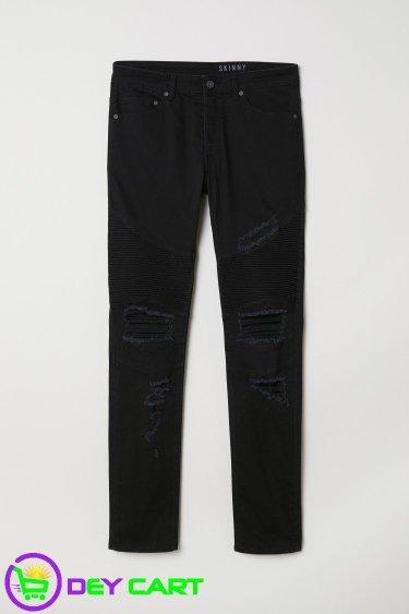 H&M Distressed Skinny Biker Jeans - Black