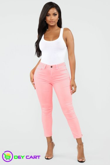 High Rise Ankle Jeans - Neon Pink 0
